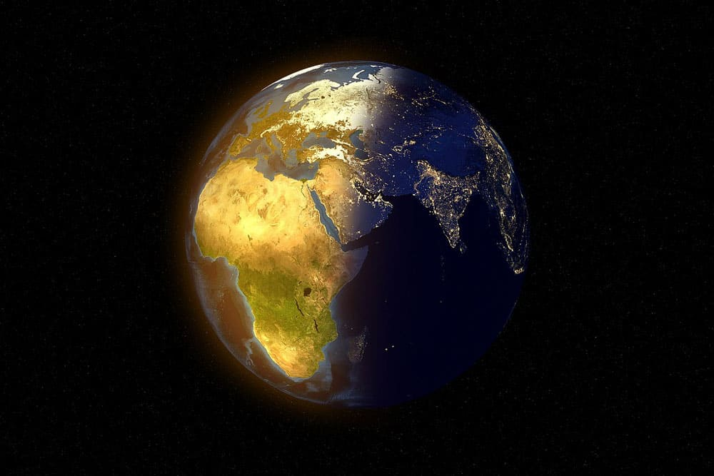 Earth in shade & light symbolizing change
